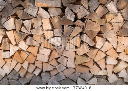 Woodpile with different color shades