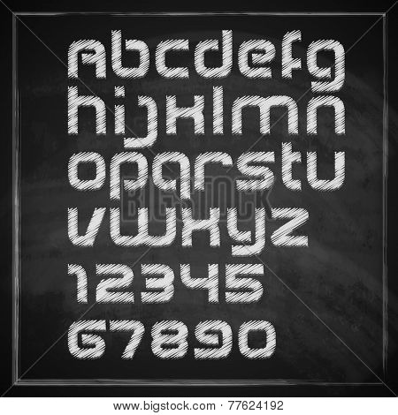vector set of chalk sketched characters on blackboard background. artistic font