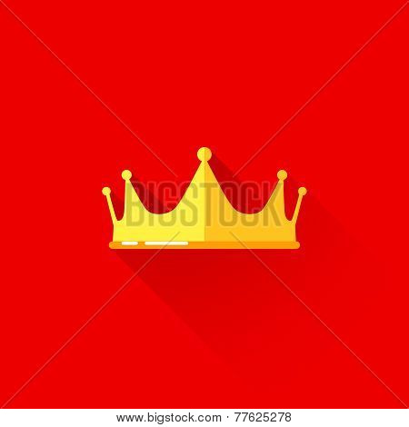 vintage illustration of a crown in flat style with long shadow
