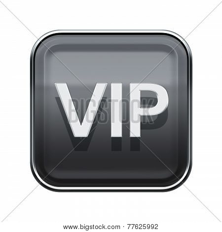 Vip Icon Glossy Grey, Isolated On White Background