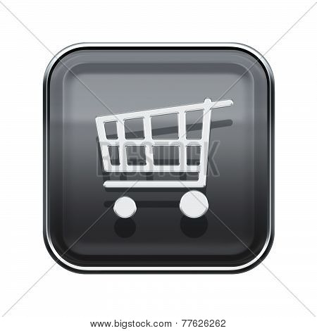 Shopping Cart Icon Glossy Grey, Isolated On White Background