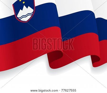 Background with waving Slovenian Flag. Vector