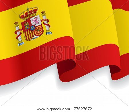 Background with waving Spanish Flag. Vector