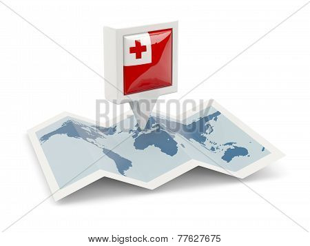 Square Pin With Flag Of Tonga On The Map