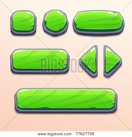 Set of cartoon green stone buttons
