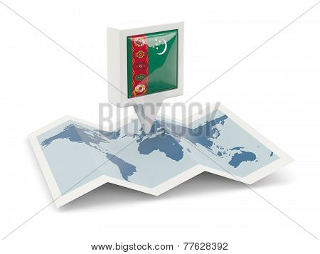 Square Pin With Flag Of Turkmenistan On The Map