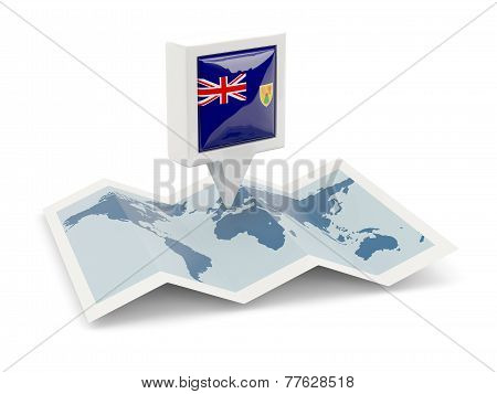 Square Pin With Flag Of Turks And Caicos Islands On The Map