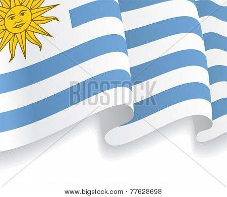 Background with waving Uruguayan Flag. Vector