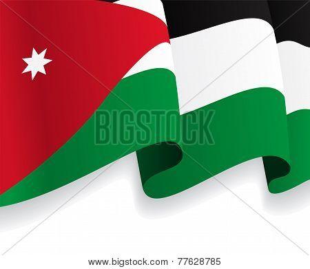 Background with waving Jordan Flag. Vector
