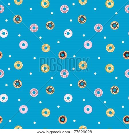 Vector sweet donuts seamless pattern. Pastry background
