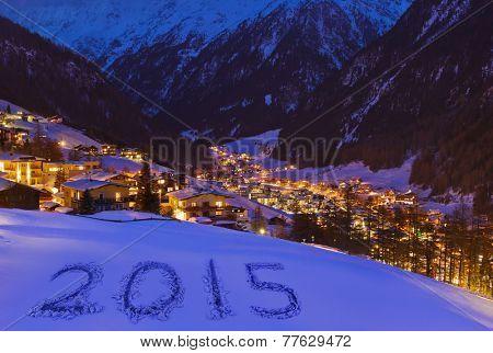 2015 on snow at mountains - Solden Austria - celebration background