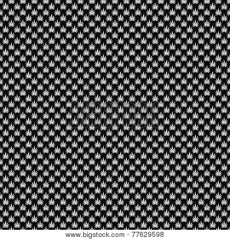 Black And White Marijuana Leaf Pattern Repeat Background