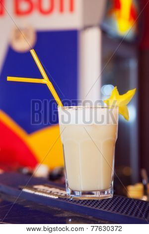 alcohol drinks on bar. cocktail pina colada