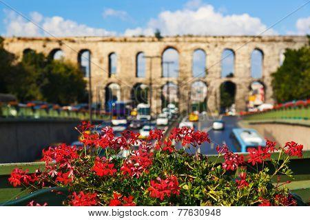 Aqueduct at Istanbul Turkey - architecture background