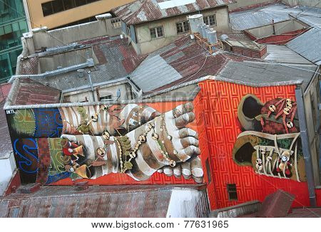second part of diptych on two buildings in Valparaiso, Chile