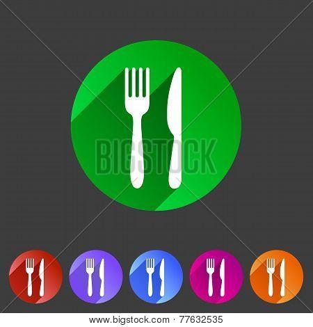Fork knife flat icon shadow