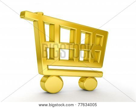 Gold Shopping Cart Symbol