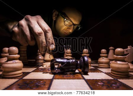 Checkmate. A Man Win A Chess Game