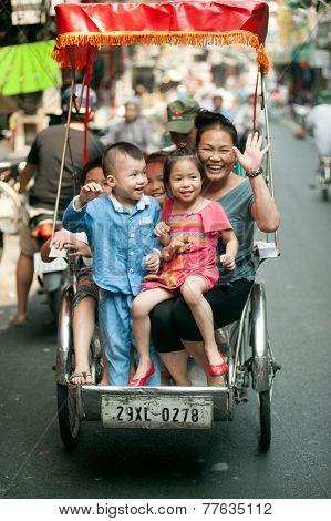Tourist Taking A Cycro Ride.
