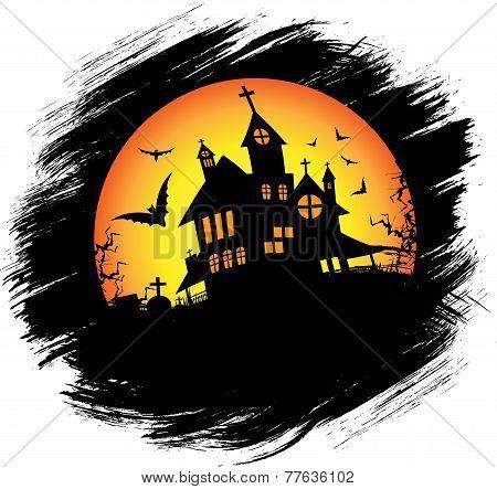 Halloween castle with sun