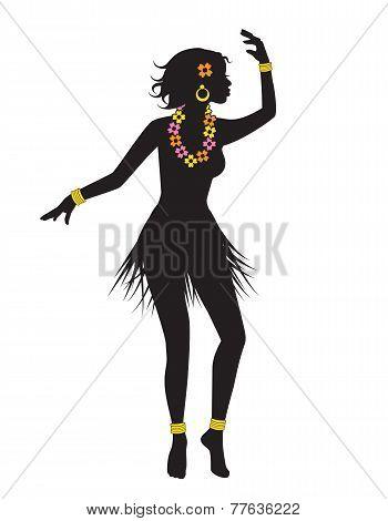 silhouette of dancing Hawaiian with beads
