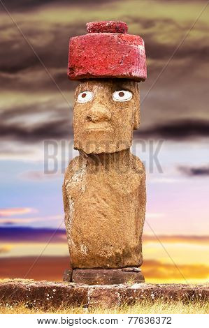 Standing Moai With Red Stone Hat And Eyes In Easter Island, Chile