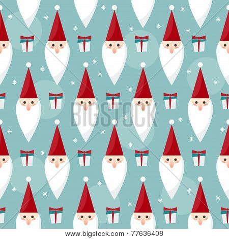 Winter Holidays Seamless Pattern Background With Funny Cartoon Santa
