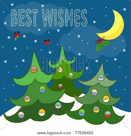 Funny Winter Holidays Card Background With  Hand-drawing Best Wishes, Spruce And Bullfinches Bearing