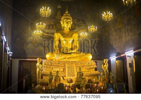 BANGKOK, THAILAND - DEC 5, 2014: Worship in the temple Ratchanadda during celebration of the 87th birthday of Thailand King Bhumibol Adulyadej, is also known as Rama IX, Chakri Dynasty monarch.