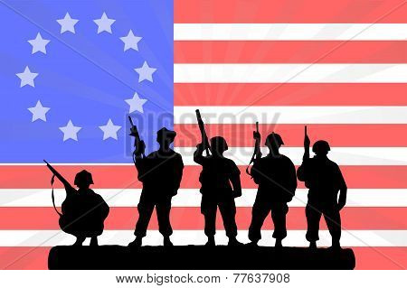 American Flag With A Silhouette Of Soldiers