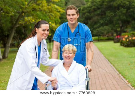 portrait of nurse greeting patient