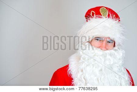 Portrait Of Serious Santa Claus. Place For Your Text.