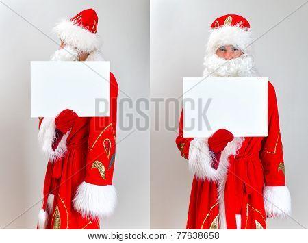 Santa Claus Mugshot. Santa Is Holding White Blank.