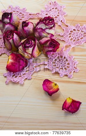 lovely dried roses on the table