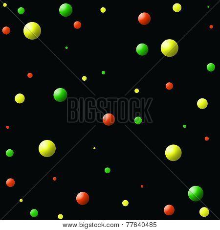 Orange-Yellow-Green Balls on Black