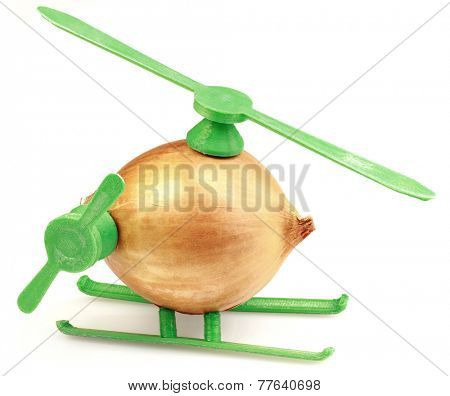 Conceptual Helicopter Toy Made with Onion and Plastic