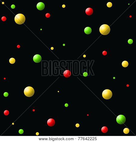 Red-Yellow-Green Floating Balls on Black