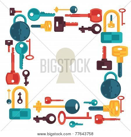 Background design with locks and keys icons.
