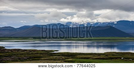 Panorama Of An Extinct Volcano And The Lake In The Foreground, Iceland