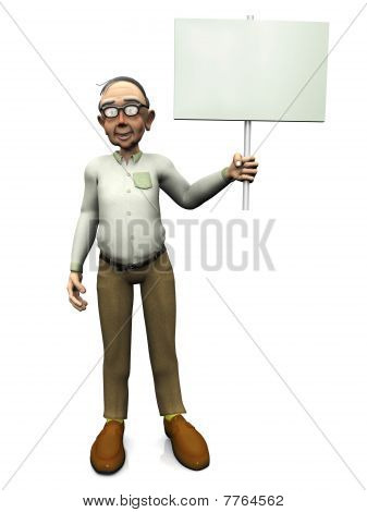 Old Friendly Man Holding Blank Sign.