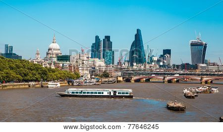 City of London view from the London bridge. St. Paul cathedral, Lloyds b