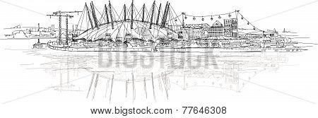 02 arena in London, Millennium dome. Main stage for show and performances. Sketch collection