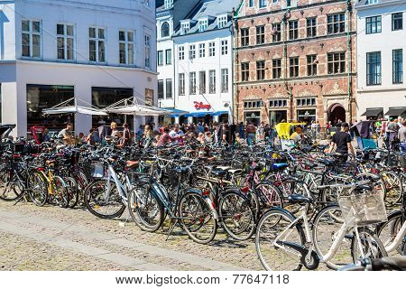 Many Bicycles Parked In  Copenhagen, Denmark