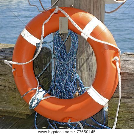 Life preserver near water