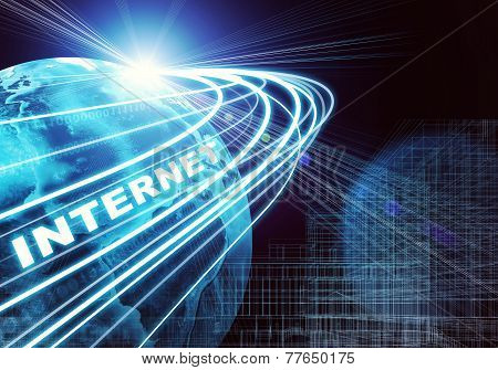 Earth, wire-frame building, light beams, digits and word internet on dark background