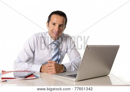 40 To 50 Years Old Senior Businessman Working On Computer At Office Desk Looking Confident And Relax