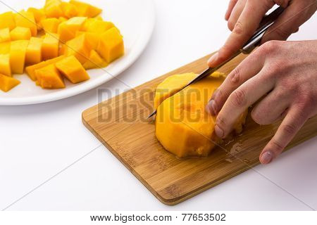 Cutting The Middle Mango Third Containing Its Pit