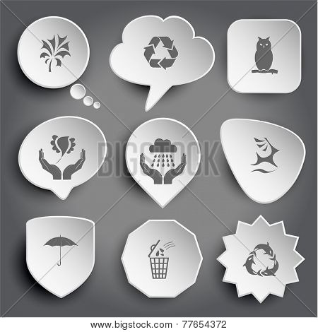 abstract plant, recycle symbol, owl, bird in hands, weather in hands, deer, umbrella, bin, killer whale as recycling symbol. White vector buttons on gray.