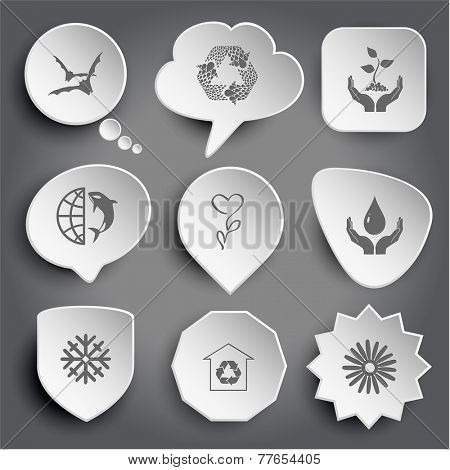 bats, recycle symbol, plant in hands, globe and shamoo, flower, protection blood, snowflake, protection of nature, camomile. White vector buttons on gray.