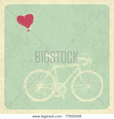 Vintage Valentines Card with Bicycle and Heart Baloon